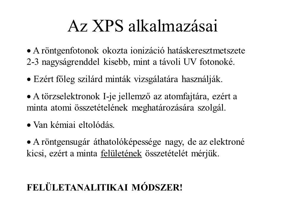 Az XPS alkalmazásai  A röntgenfotonok okozta ionizáció hatáskeresztmetszete 2-3 nagyságrenddel kisebb, mint a távoli UV fotonoké.  Ezért főleg szilá
