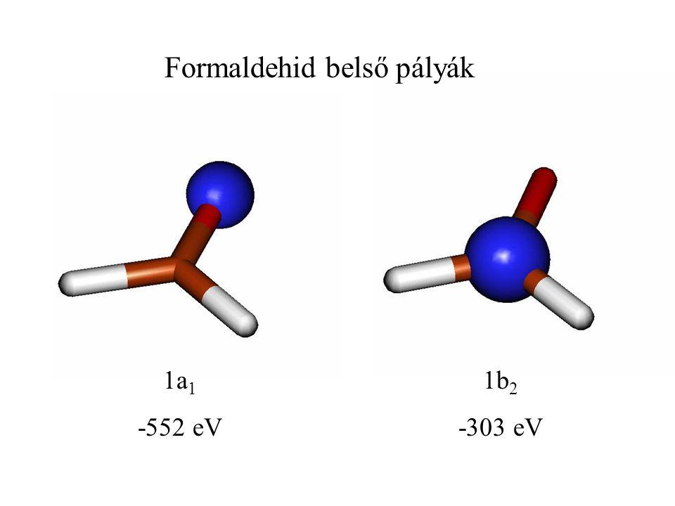 1a 1 -552 eV 1b 2 -303 eV Formaldehid belső pályák
