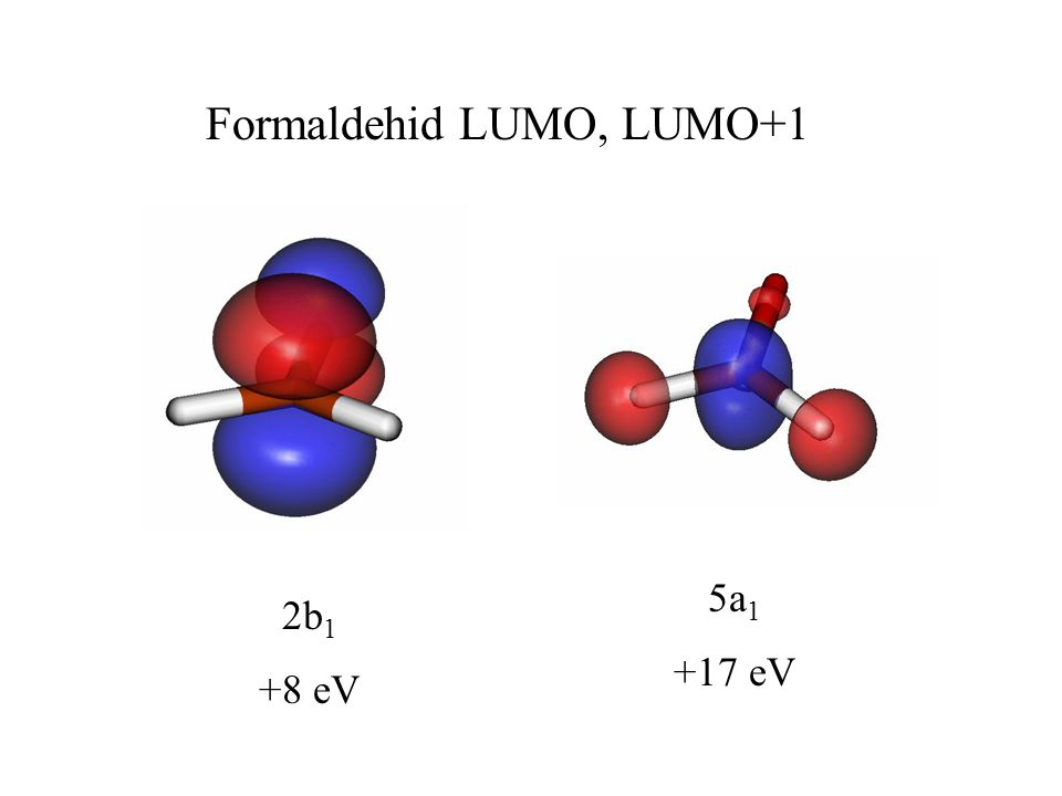 5a 1 +17 eV 2b 1 +8 eV Formaldehid LUMO, LUMO+1