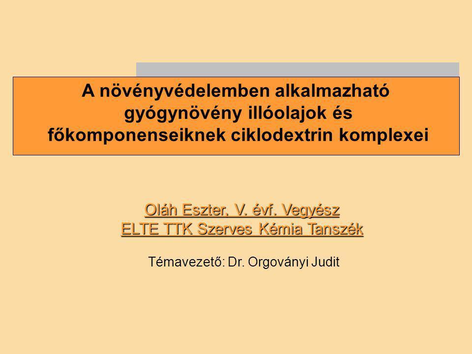 A növényvédelemben alkalmazható gyógynövény illóolajok és főkomponenseiknek ciklodextrin komplexei Oláh Eszter, V. évf. Vegyész ELTE TTK Szerves Kémia