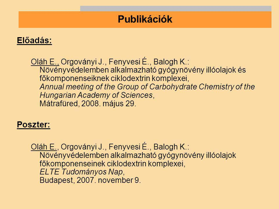 Előadás: Oláh E., Orgoványi J., Fenyvesi É., Balogh K.: Növényvédelemben alkalmazható gyógynövény illóolajok és főkomponenseiknek ciklodextrin komplex