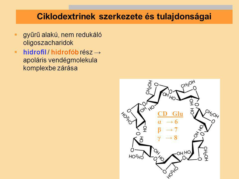  gyűrű alakú, nem redukáló oligoszacharidok  hidrofil / hidrofób rész → apoláris vendégmolekula komplexbe zárása Ciklodextrinek szerkezete és tulajd