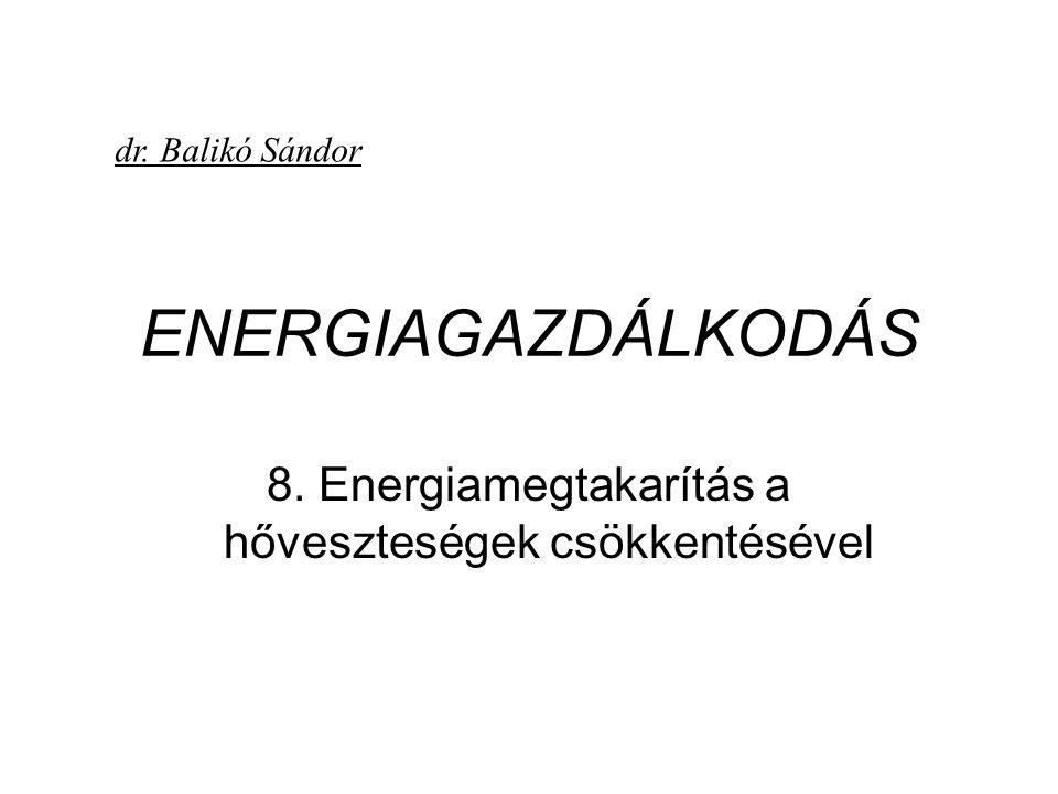 ENERGIAGAZDÁLKODÁS 8. Energiamegtakarítás a hőveszteségek csökkentésével dr. Balikó Sándor
