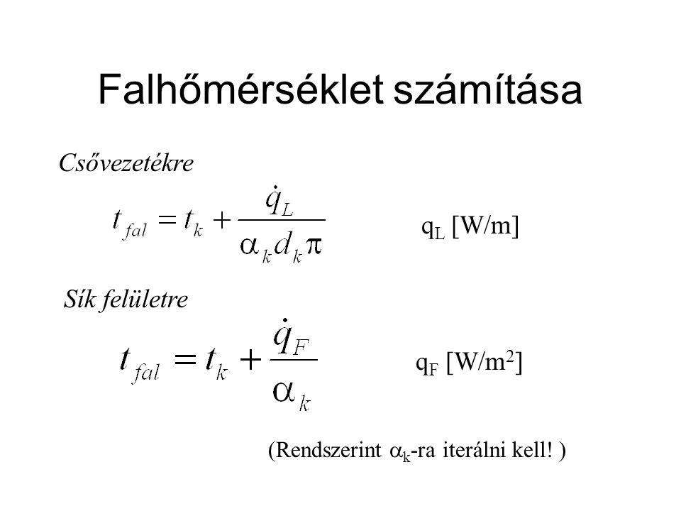 Falhőmérséklet számítása Csővezetékre Sík felületre q L [W/m] q F [W/m 2 ] (Rendszerint  k -ra iterálni kell.
