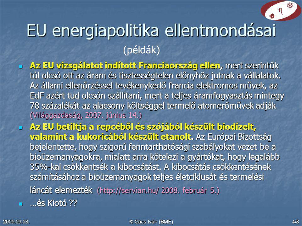 2009.09.08.© Gács Iván (BME)4/8 EU energiapolitika ellentmondásai Az EU vizsgálatot indított Franciaország ellen, mert szerintük túl olcsó ott az áram és tisztességtelen előnyhöz jutnak a vállalatok.