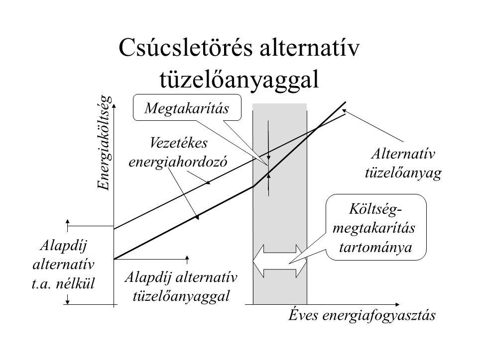 Csúcsletörés alternatív tüzelőanyaggal Éves energiafogyasztás Energiaköltség Költség- megtakarítás tartománya Vezetékes energiahordozó Alternatív tüzelőanyag Alapdíj alternatív t.a.