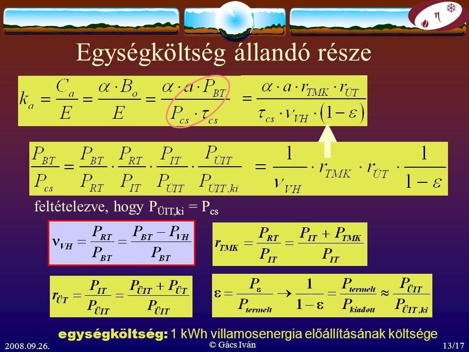 2008.09.26. © Gács Iván 13/17 Egységköltség állandó része feltételezve, hogy P ÜIT,ki = P cs egységköltség: 1 kWh villamosenergia előállításának költs