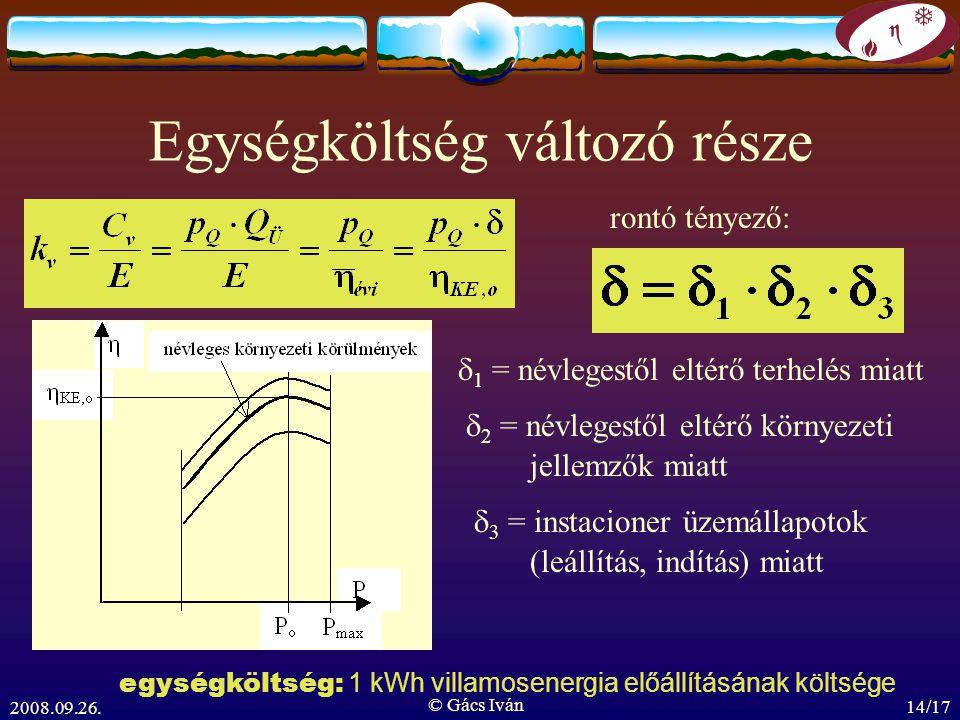 2008.09.26. © Gács Iván 14/17 Egységköltség változó része rontó tényező:  1 = névlegestől eltérő terhelés miatt  2 = névlegestől eltérő környezeti 