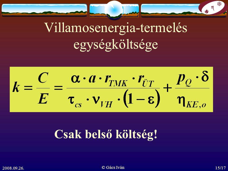 2008.09.26. © Gács Iván 15/17 Villamosenergia-termelés egységköltsége Csak belső költség!
