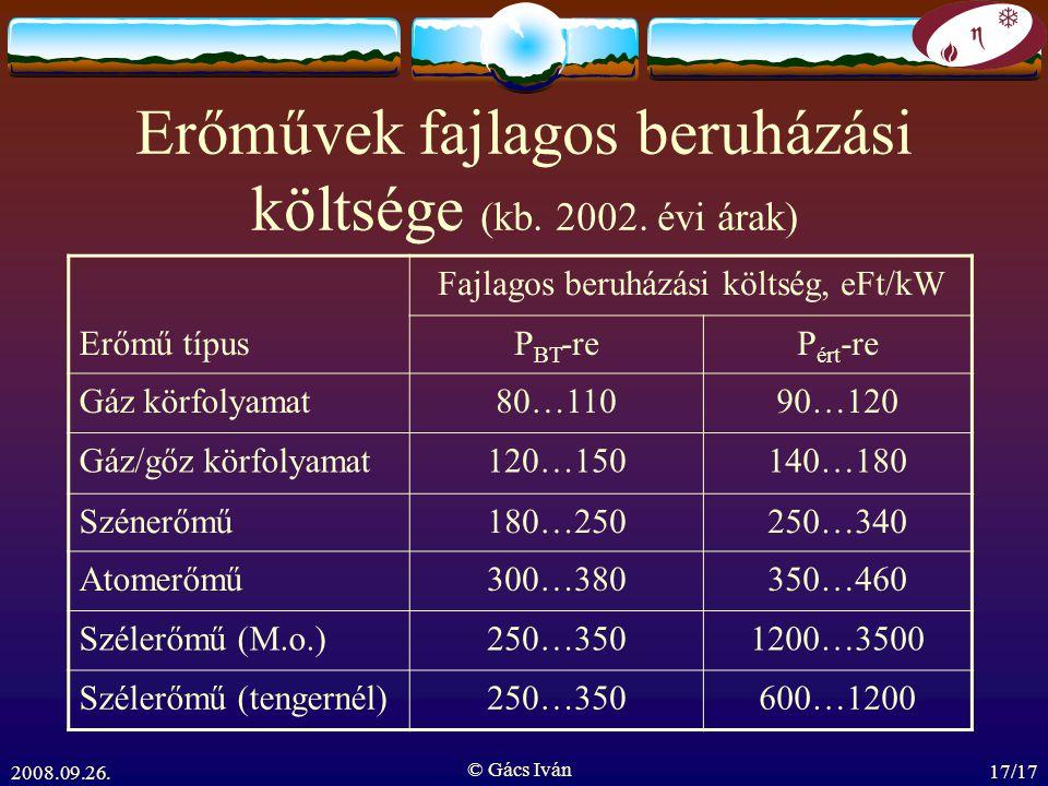 2008.09.26. © Gács Iván 17/17 Erőművek fajlagos beruházási költsége (kb. 2002. évi árak) Fajlagos beruházási költség, eFt/kW Erőmű típusP BT -reP ért