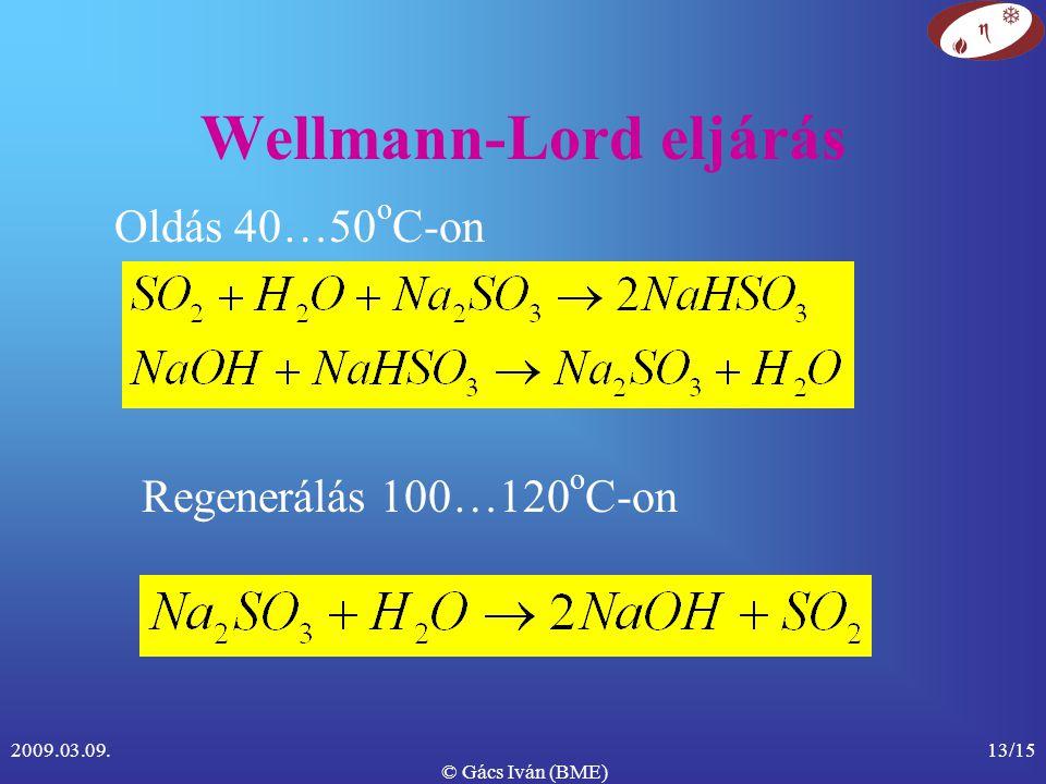 2009.03.09. © Gács Iván (BME) 13/15 Wellmann-Lord eljárás Oldás 40…50 o C-on Regenerálás 100…120 o C-on