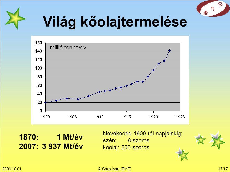 2009.10.01.© Gács Iván (BME)17/17 Világ kőolajtermelése millió tonna/év 1870: 1 Mt/év 2007: 3 937 Mt/év Növekedés 1900-tól napjainkig: szén: 8-szoros