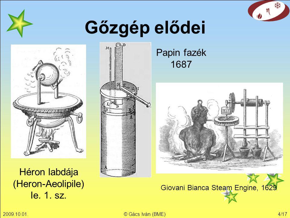2009.10.01.© Gács Iván (BME)4/17 Gőzgép elődei Héron labdája (Heron-Aeolipile) Ie. 1. sz. Papin fazék 1687 Giovani Bianca Steam Engine, 1629