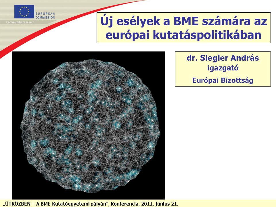 """""""ÚTKÖZBEN – A BME Kutatóegyetemi pályán"""", Konferencia, 2011. június 21. Új esélyek a BME számára az európai kutatáspolitikában dr. Siegler András igaz"""