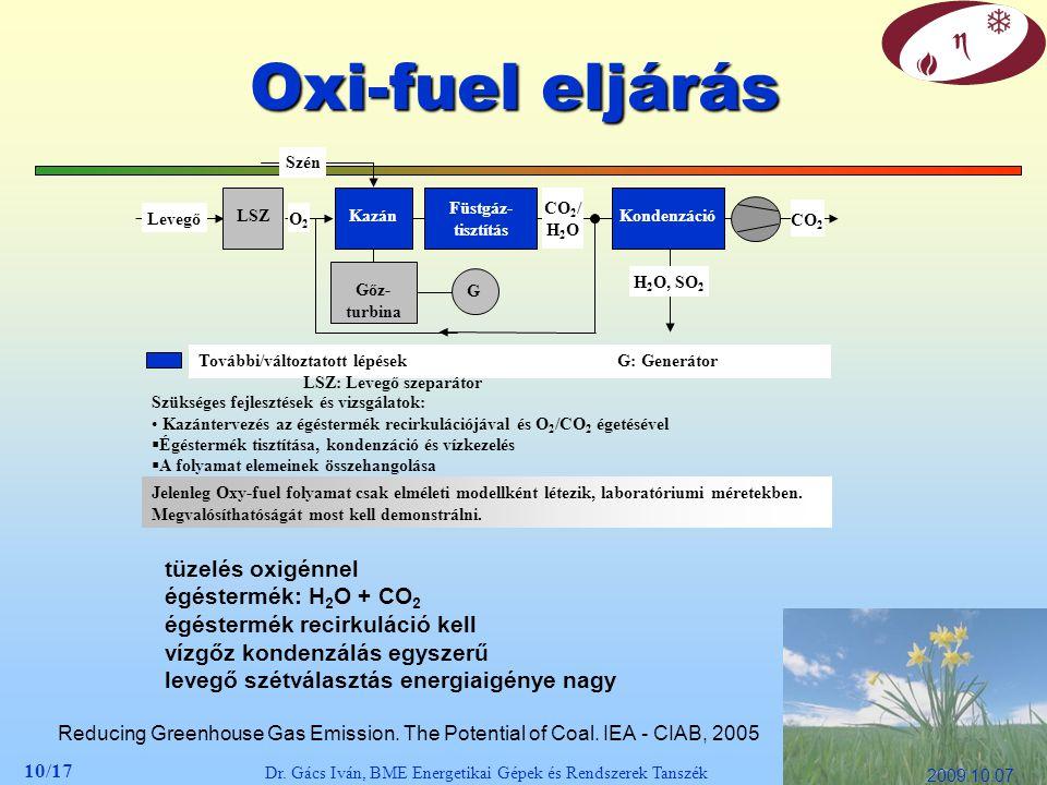 10/17 Dr. Gács Iván, BME Energetikai Gépek és Rendszerek Tanszék 2009.10.07. Oxi-fuel eljárás Reducing Greenhouse Gas Emission. The Potential of Coal.