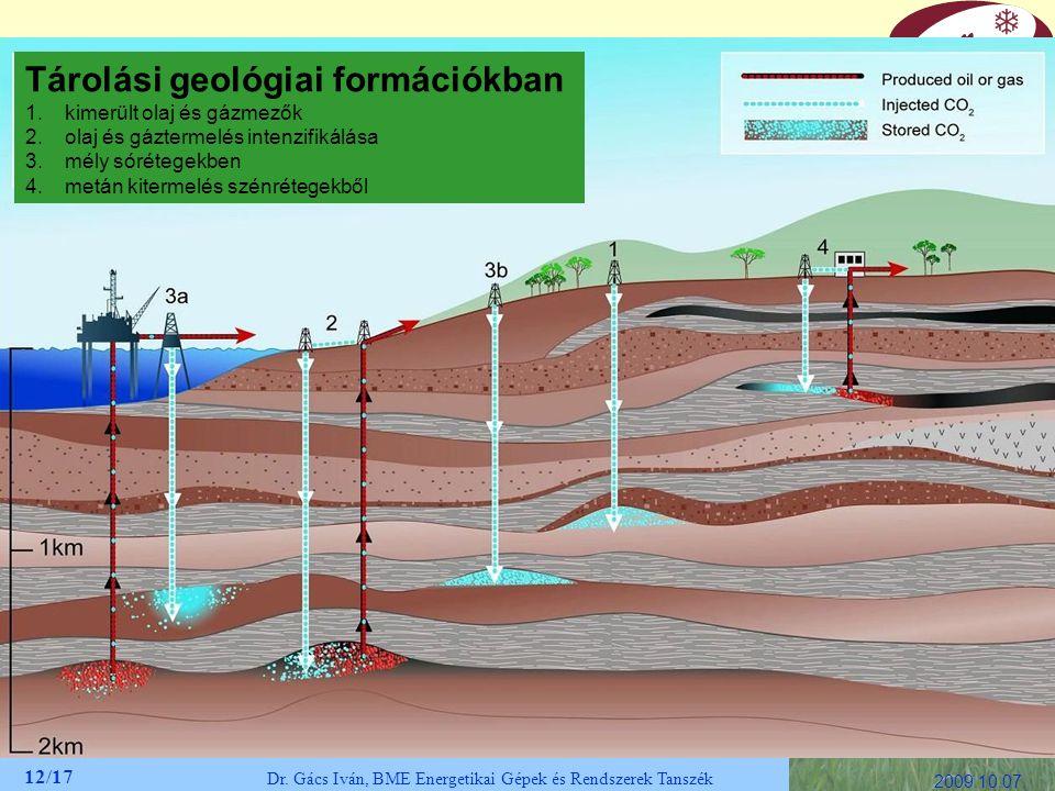 12/17 Dr. Gács Iván, BME Energetikai Gépek és Rendszerek Tanszék 2009.10.07. Tárolási geológiai formációkban 1.kimerült olaj és gázmezők 2.olaj és gáz