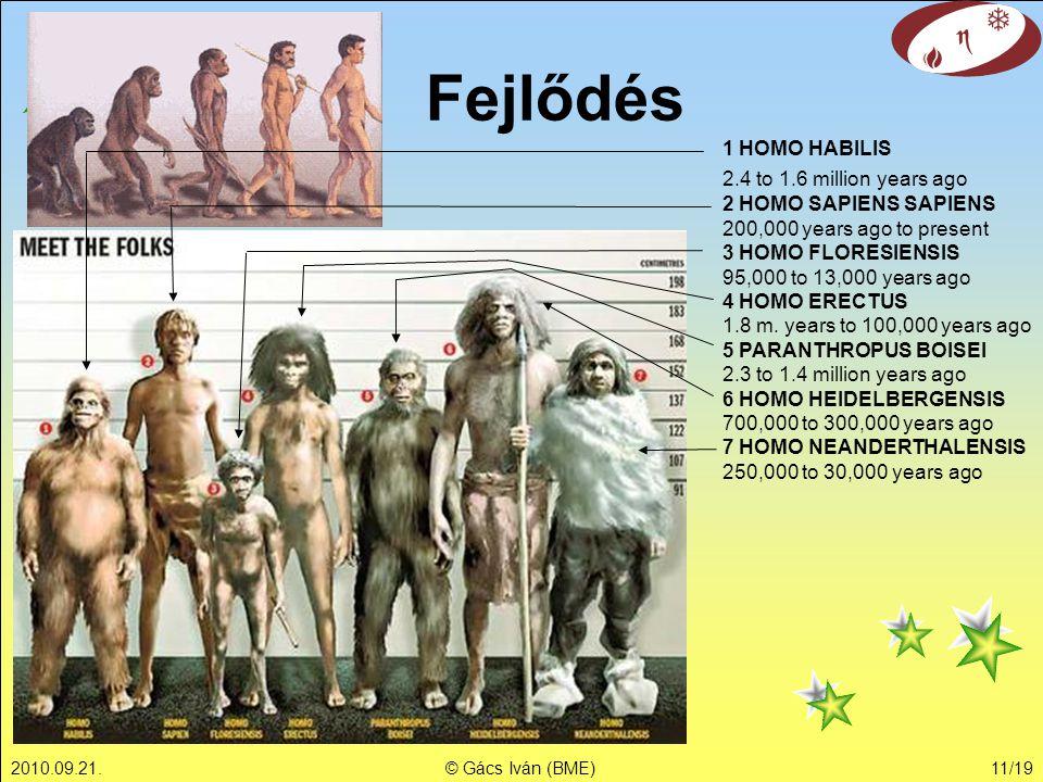 2010.09.21.© Gács Iván (BME)11/19 Fejlődés 1 HOMO HABILIS 2.4 to 1.6 million years ago 2 HOMO SAPIENS SAPIENS 200,000 years ago to present 3 HOMO FLOR