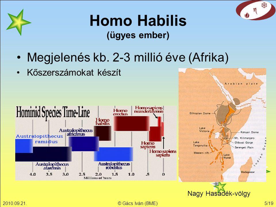 2010.09.21.© Gács Iván (BME)5/19 Homo Habilis (ügyes ember) Megjelenés kb. 2-3 millió éve (Afrika) Kőszerszámokat készít Nagy Hasadék-völgy
