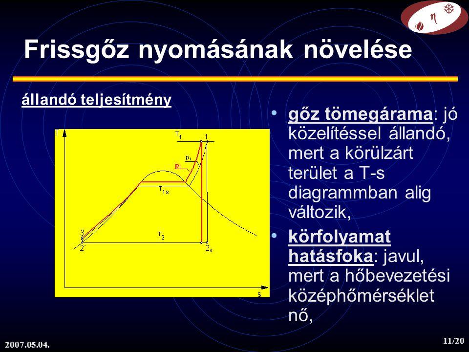 2007.05.04. 11/20 Frissgőz nyomásának növelése gőz tömegárama: jó közelítéssel állandó, mert a körülzárt terület a T-s diagrammban alig változik, körf
