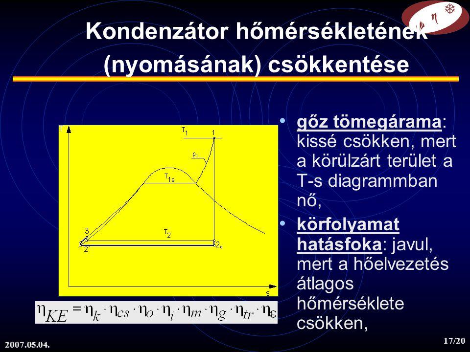 2007.05.04. 17/20 Kondenzátor hőmérsékletének (nyomásának) csökkentése gőz tömegárama: kissé csökken, mert a körülzárt terület a T-s diagrammban nő, k