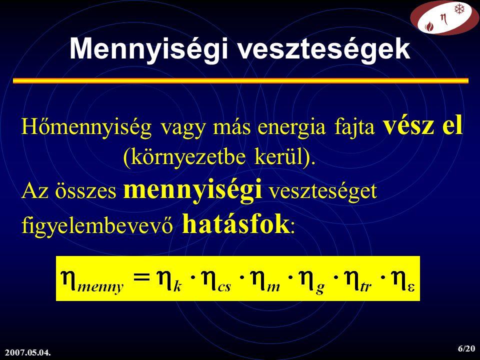 2007.05.04. 6/20 Mennyiségi veszteségek Hőmennyiség vagy más energia fajta vész el (környezetbe kerül). Az összes mennyiségi veszteséget figyelembevev