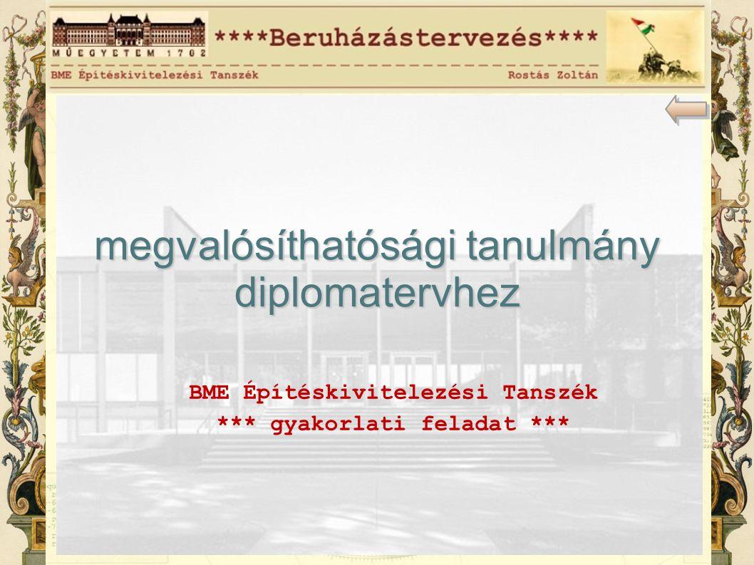 BME Építéskivitelezési Tanszék *** gyakorlati feladat *** megvalósíthatósági tanulmány diplomatervhez