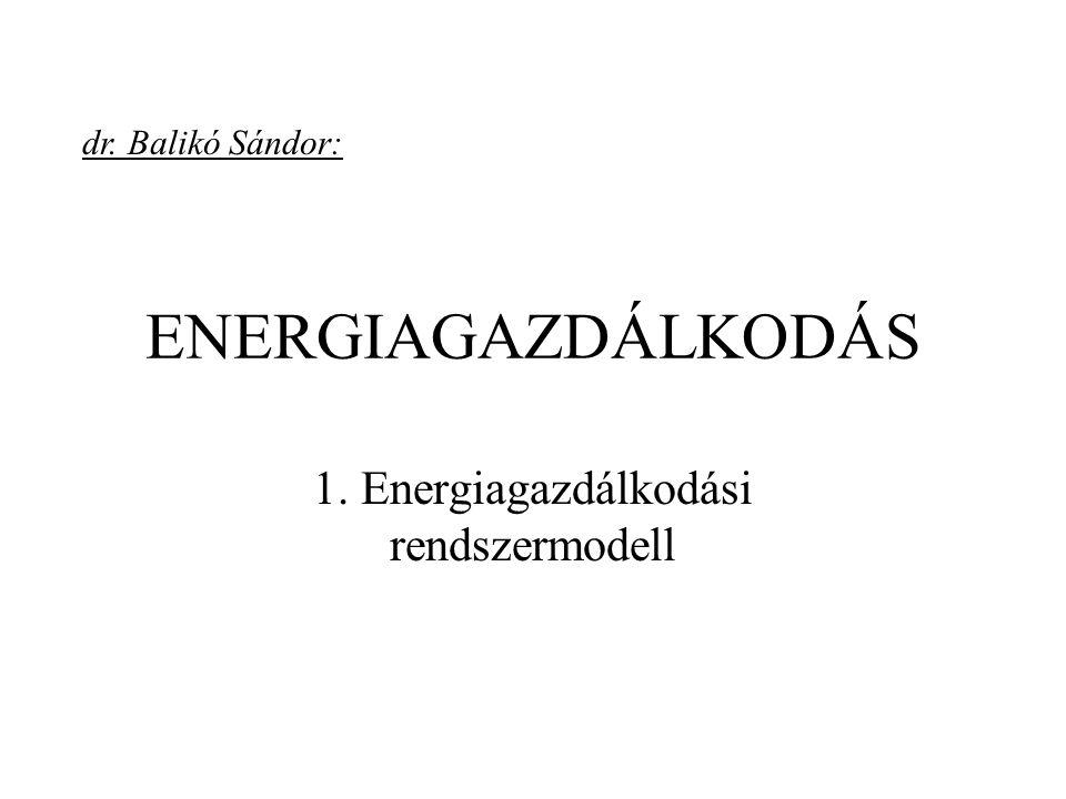 ENERGIAGAZDÁLKODÁS 1. Energiagazdálkodási rendszermodell dr. Balikó Sándor:
