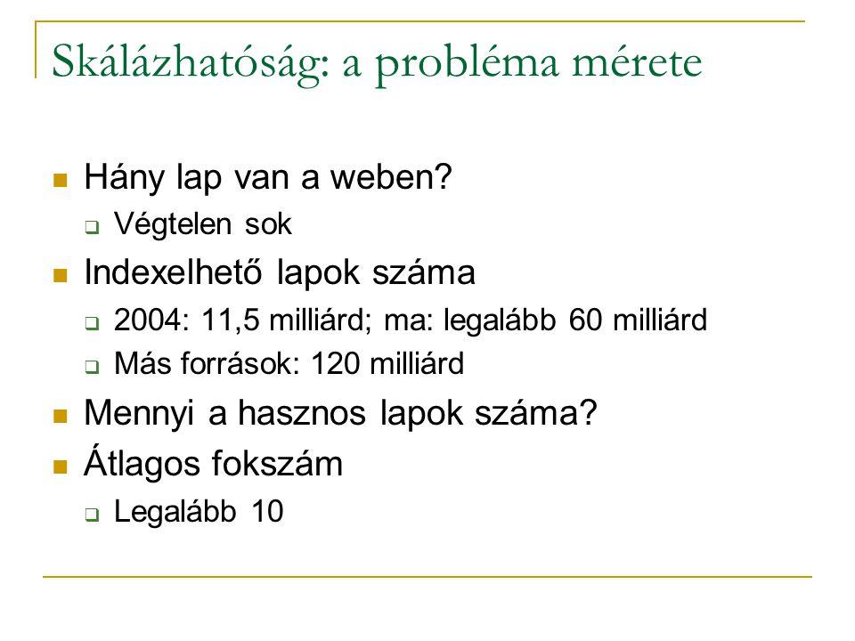 Skálázhatóság: a probléma mérete Hány lap van a weben.