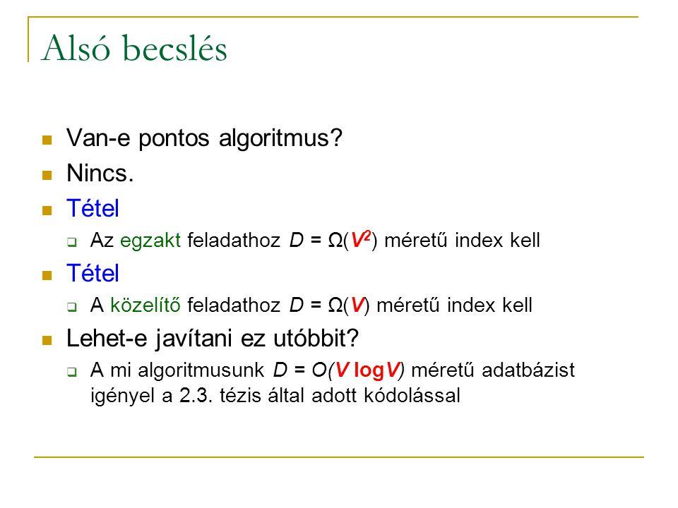 Alsó becslés Van-e pontos algoritmus. Nincs.