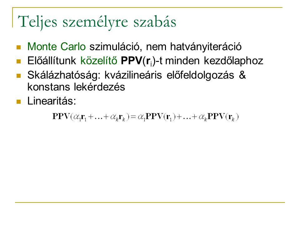 Teljes személyre szabás Monte Carlo szimuláció, nem hatványiteráció Előállítunk közelítő PPV(r i )-t minden kezdőlaphoz Skálázhatóság: kvázilineáris előfeldolgozás & konstans lekérdezés Linearitás:
