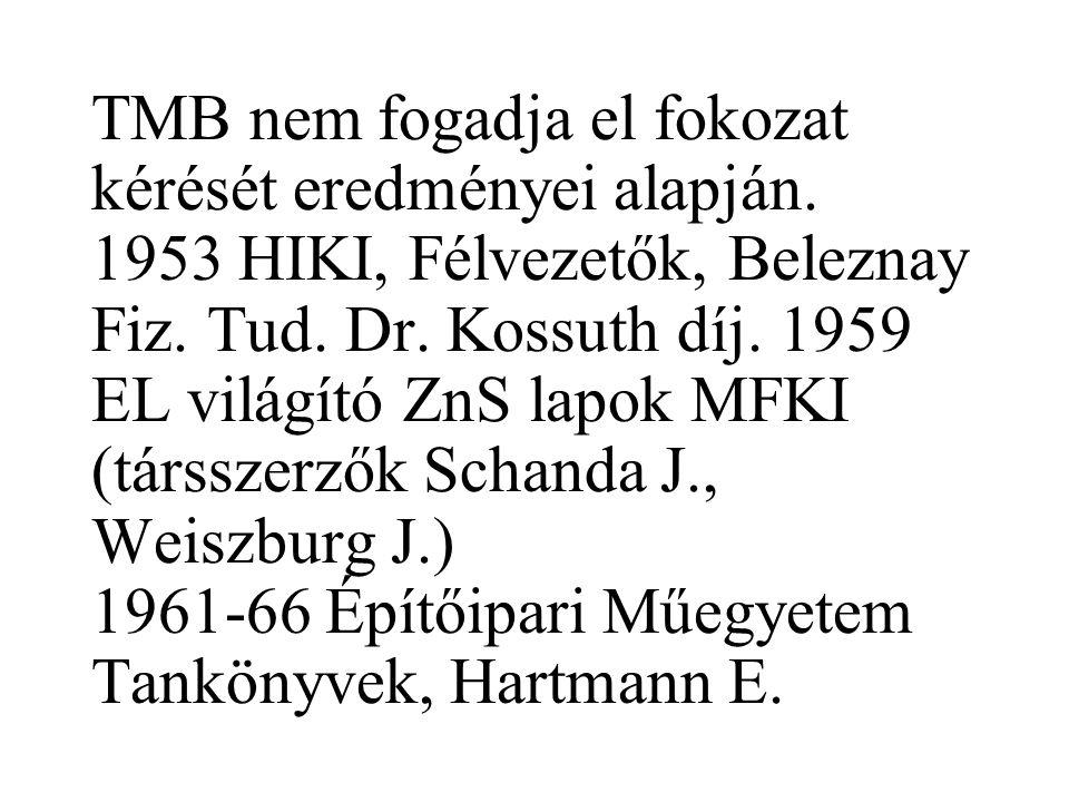 TMB nem fogadja el fokozat kérését eredményei alapján.