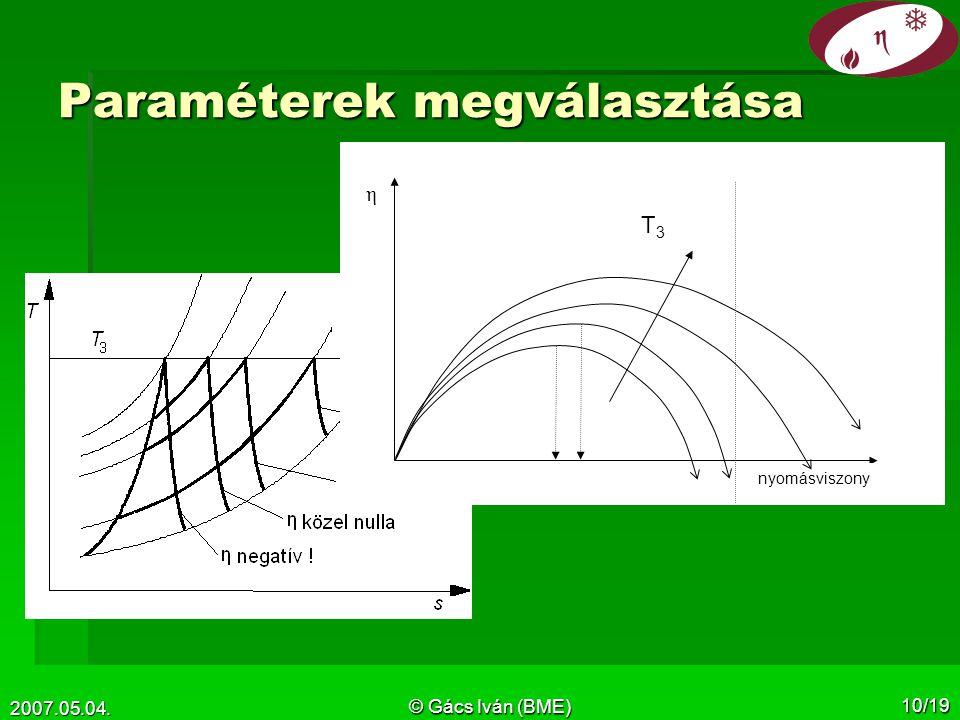 2007.05.04. © Gács Iván (BME) 10/19 Paraméterek megválasztása nyomásviszony η T3T3