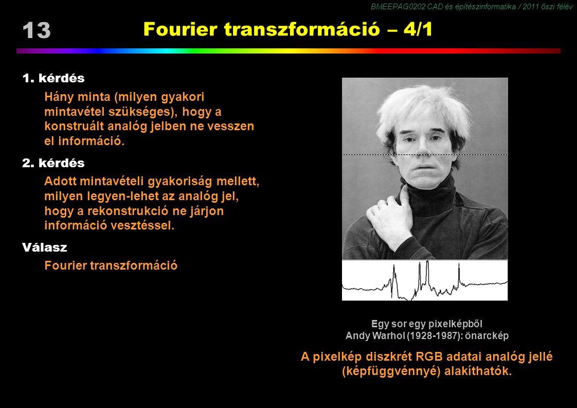 BMEEPAG0202 CAD és építészinformatika / 2011 őszi félév 13 Fourier transzformáció – 4/1 1. kérdés Hány minta (milyen gyakori mintavétel szükséges), ho
