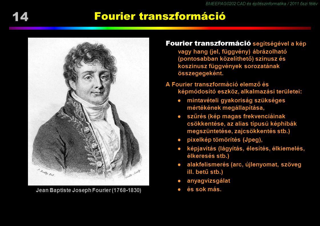 BMEEPAG0202 CAD és építészinformatika / 2011 őszi félév 14 Fourier transzformáció Fourier transzformáció segítségével a kép vagy hang (jel, függvény) ábrázolható (pontosabban közelíthető) szinusz és koszinusz függvények sorozatának összegegeként.