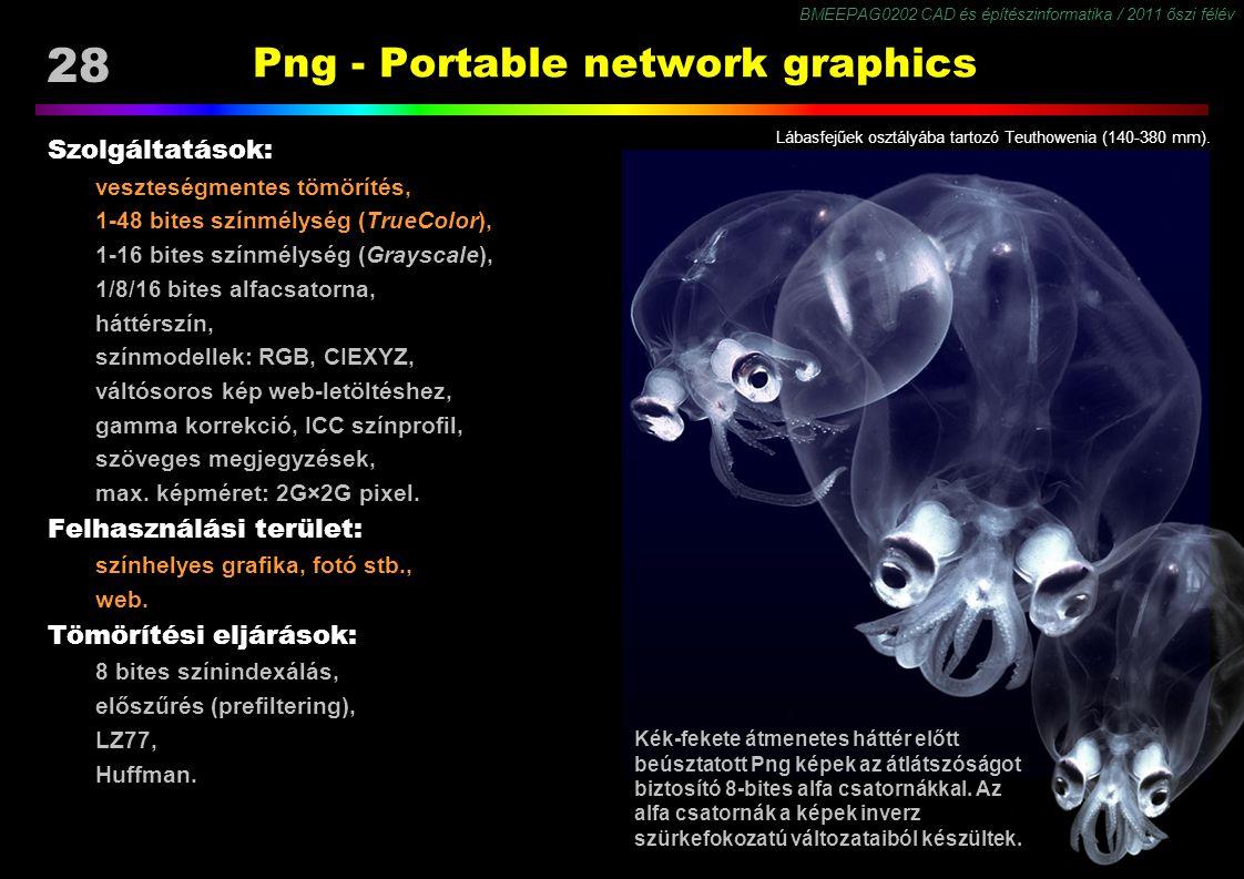 BMEEPAG0202 CAD és építészinformatika / 2011 őszi félév 28 Png - Portable network graphics Szolgáltatások: veszteségmentes tömörítés, 1-48 bites színmélység (TrueColor), 1-16 bites színmélység (Grayscale), 1/8/16 bites alfacsatorna, háttérszín, színmodellek: RGB, CIEXYZ, váltósoros kép web-letöltéshez, gamma korrekció, ICC színprofil, szöveges megjegyzések, max.