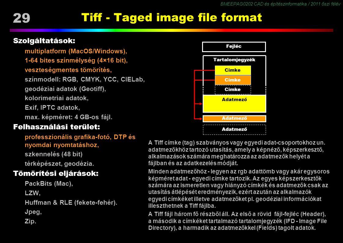 BMEEPAG0202 CAD és építészinformatika / 2011 őszi félév 29 Tiff - Taged image file format Szolgáltatások: multiplatform (MacOS/Windows), 1-64 bites színmélység (4×16 bit), veszteségmentes tömörítés, színmodell: RGB, CMYK, YCC, CIELab, geodéziai adatok (Geotiff), kolorimetriai adatok, Exif, IPTC adatok, max.