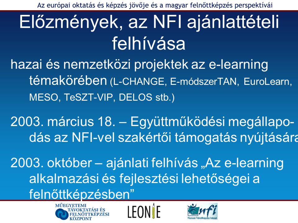 A projekt részfeladatai 1.Irodalom- és dokumentumgyűjtés, elemzés, résztanulmányok: az e-learning szerepe és lehetőségei a felnőttképzésben, javaslatok a magyarországi fejlesztési feladatokra és feltételekre 2.Informatikai kutatás és szoftverfejlesztés: a magyarországi képző intézmények e-learning- tevékenységével kapcsolatos releváns adatok kutatási célú gyűjtésére, adatelemzésére.