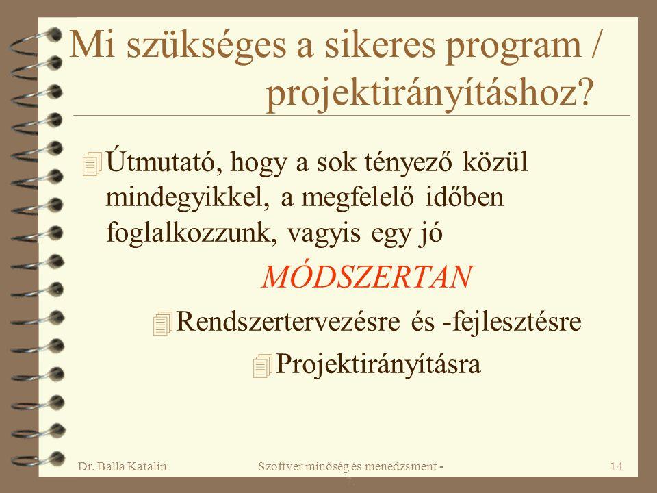 Dr. Balla KatalinSzoftver minőség és menedzsment - 7. 14 Mi szükséges a sikeres program / projektirányításhoz? 4 Útmutató, hogy a sok tényező közül mi