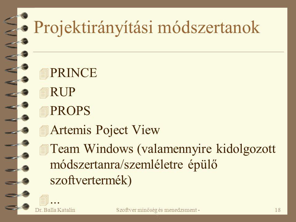 Dr. Balla KatalinSzoftver minőség és menedzsment - 7. 18 Projektirányítási módszertanok 4 PRINCE 4 RUP 4 PROPS 4 Artemis Poject View 4 Team Windows (v