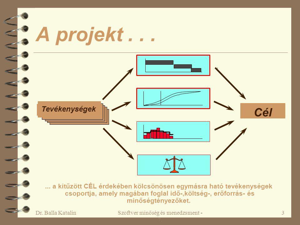 Dr. Balla KatalinSzoftver minőség és menedzsment - 7. 3 A projekt... Tevékenységek Cél... a kitűzött CÉL érdekében kölcsönösen egymásra ható tevékenys