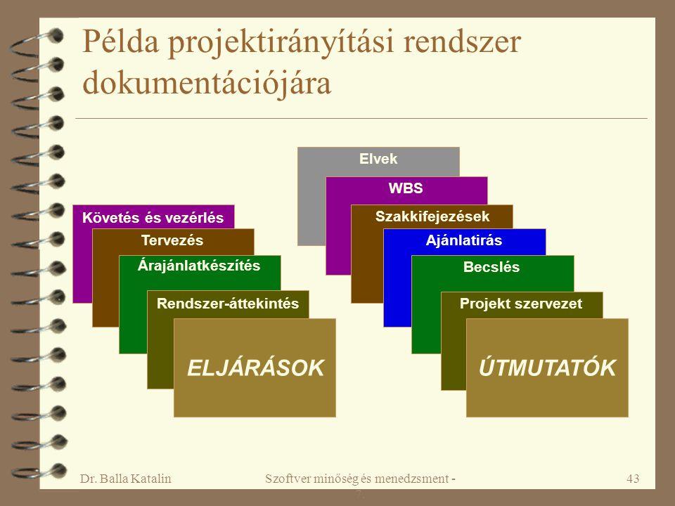 Dr. Balla KatalinSzoftver minőség és menedzsment - 7. 43 Példa projektirányítási rendszer dokumentációjára ELJÁRÁSOKÚTMUTATÓK Rendszer-áttekintésProje