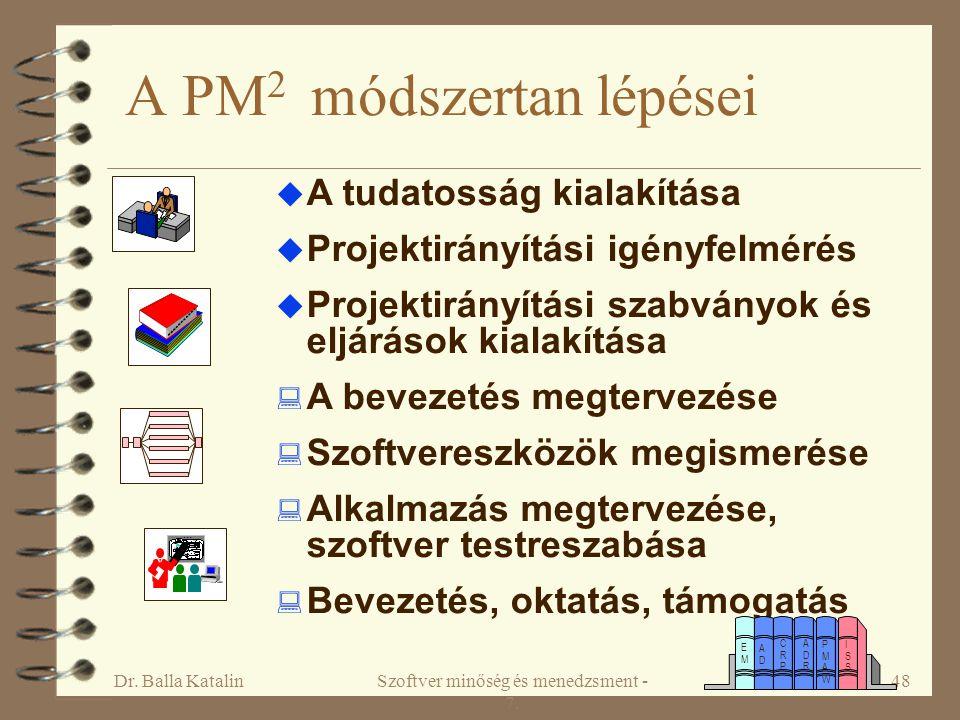 Dr. Balla KatalinSzoftver minőség és menedzsment - 7. 48 A PM 2 módszertan lépései  A tudatosság kialakítása  Projektirányítási igényfelmérés  Proj