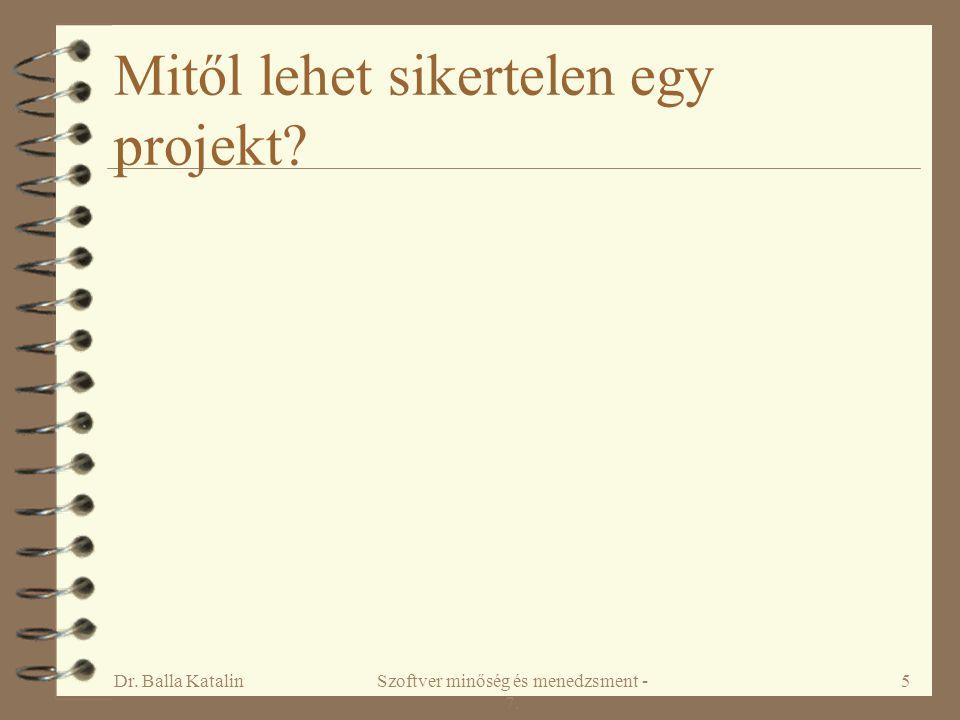 Dr. Balla KatalinSzoftver minőség és menedzsment - 7. 5 Mitől lehet sikertelen egy projekt?