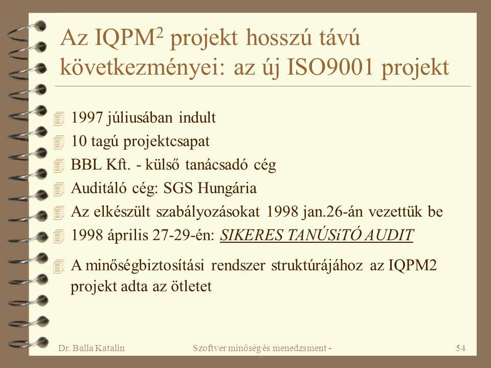 Dr. Balla KatalinSzoftver minőség és menedzsment - 7. 54 4 1997 júliusában indult 4 10 tagú projektcsapat 4 BBL Kft. - külső tanácsadó cég 4 Auditáló