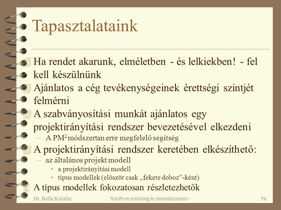 Dr. Balla KatalinSzoftver minőség és menedzsment - 7. 56 Tapasztalataink 4 Ha rendet akarunk, elméletben - és lelkiekben! - fel kell készülnünk 4 Aján