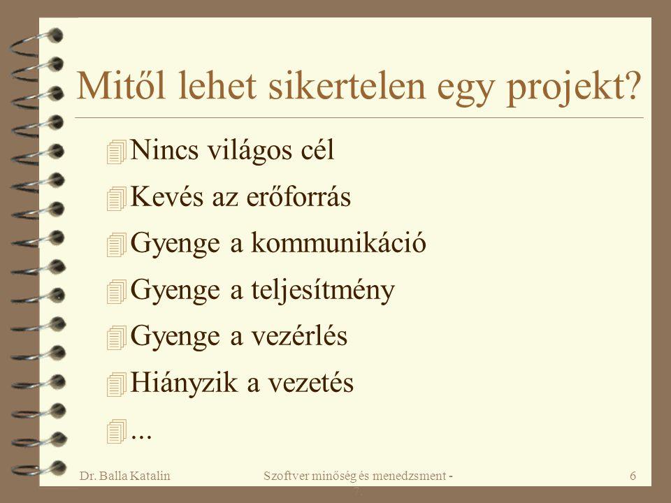 Dr. Balla KatalinSzoftver minőség és menedzsment - 7. 6 Mitől lehet sikertelen egy projekt? 4 Nincs világos cél 4 Kevés az erőforrás 4 Gyenge a kommun