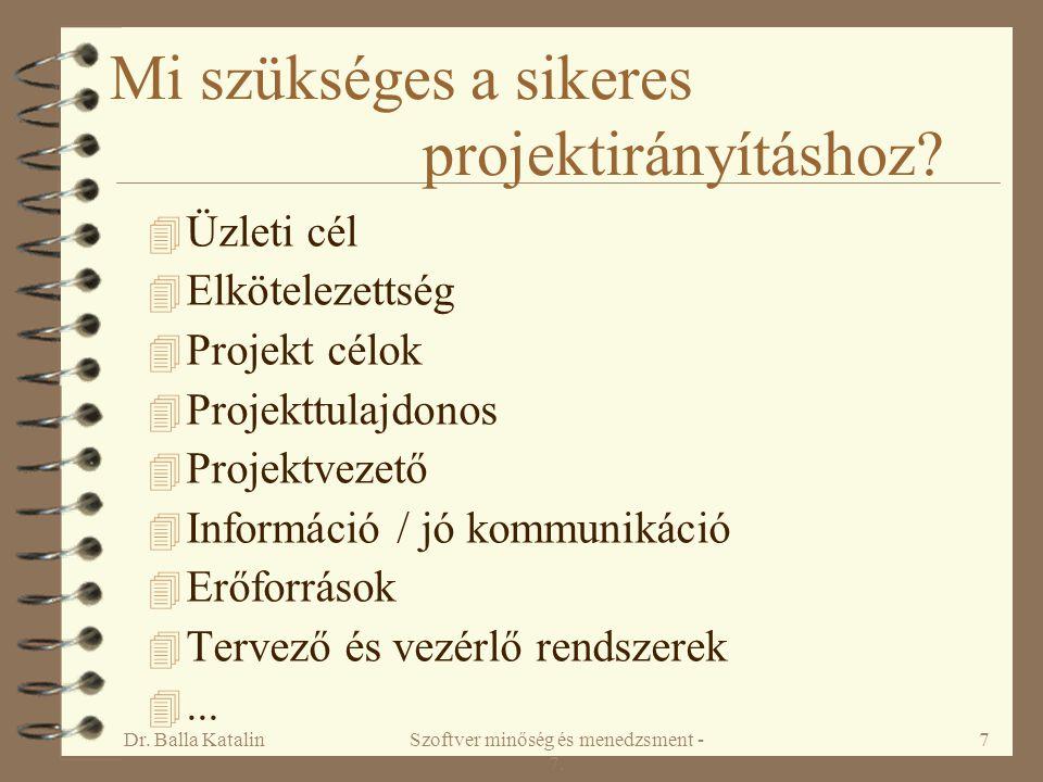 Dr. Balla KatalinSzoftver minőség és menedzsment - 7. 7 Mi szükséges a sikeres projektirányításhoz? 4 Üzleti cél 4 Elkötelezettség 4 Projekt célok 4 P
