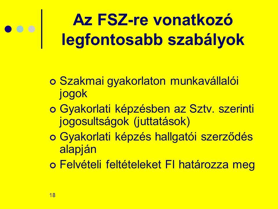 18 Az FSZ-re vonatkozó legfontosabb szabályok Szakmai gyakorlaton munkavállalói jogok Gyakorlati képzésben az Sztv. szerinti jogosultságok (juttatások
