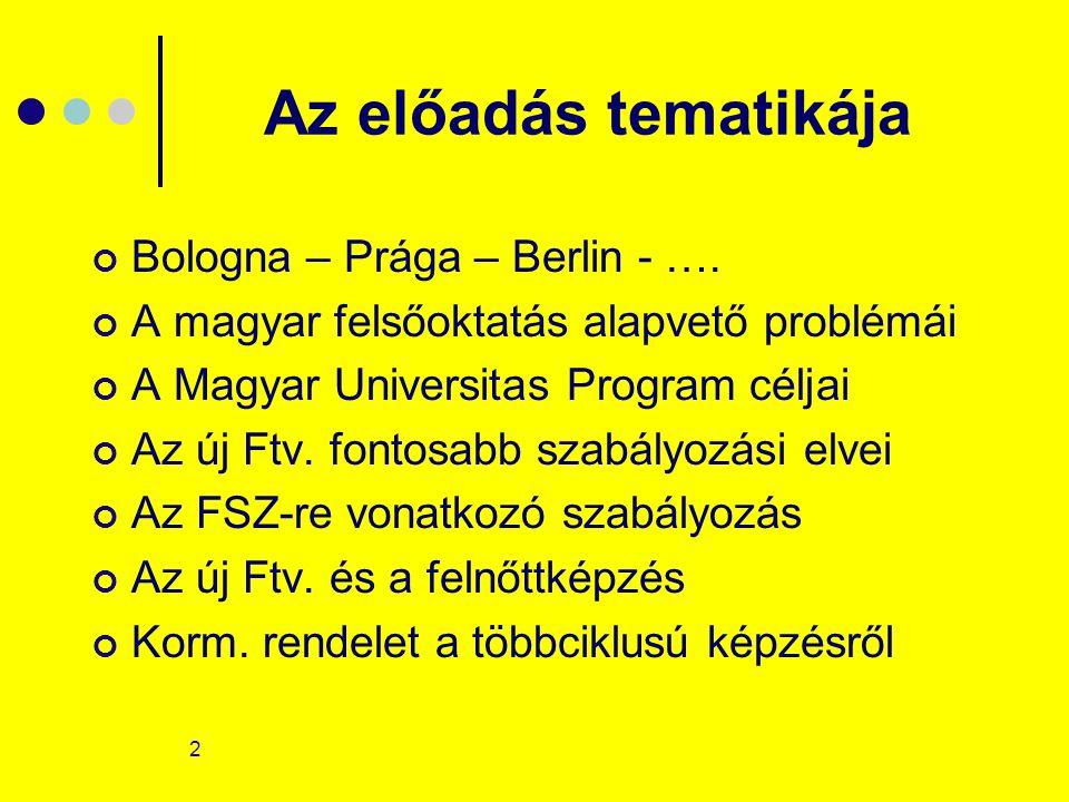 2 Az előadás tematikája Bologna – Prága – Berlin - …. A magyar felsőoktatás alapvető problémái A Magyar Universitas Program céljai Az új Ftv. fontosab