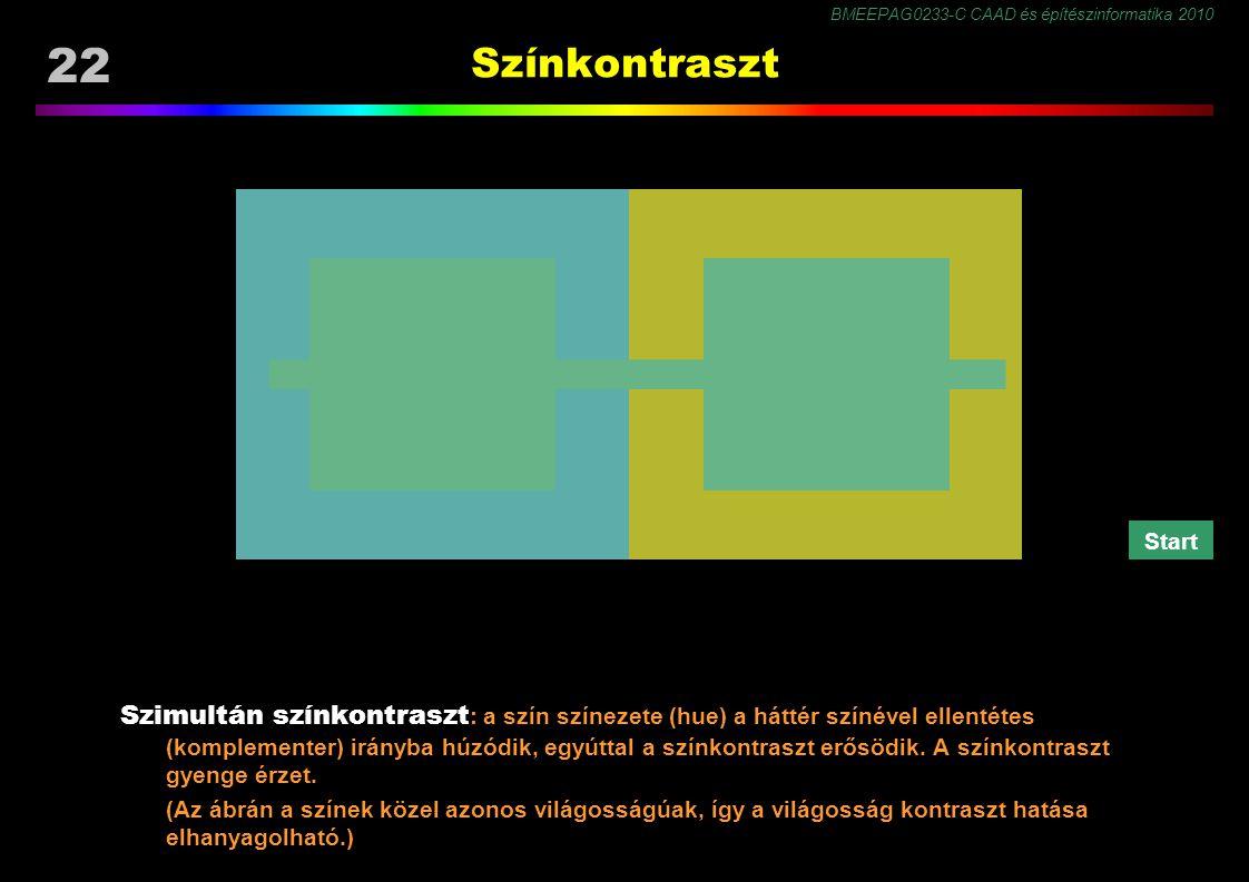 BMEEPAG0233-C CAAD és építészinformatika 2010 22 Színkontraszt Szimultán színkontraszt : a szín színezete (hue) a háttér színével ellentétes (komplementer) irányba húzódik, egyúttal a színkontraszt erősödik.